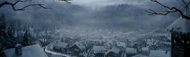 mountains winter snow trees cityscapes houses fantasy art digital art artwork medieval portuguese_www.wallmay.net_27